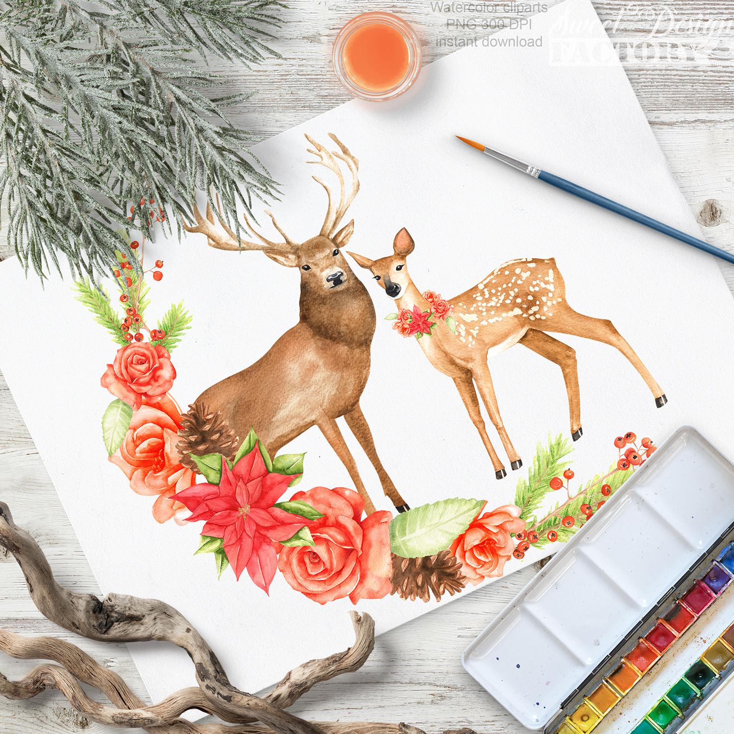 Deers and flowers cliparts example image 5
