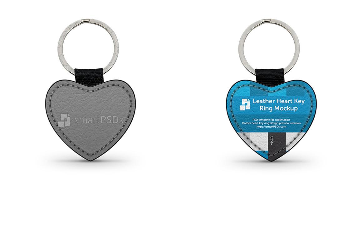 Heart Shape Leather Keyring Design Mockup example image 1