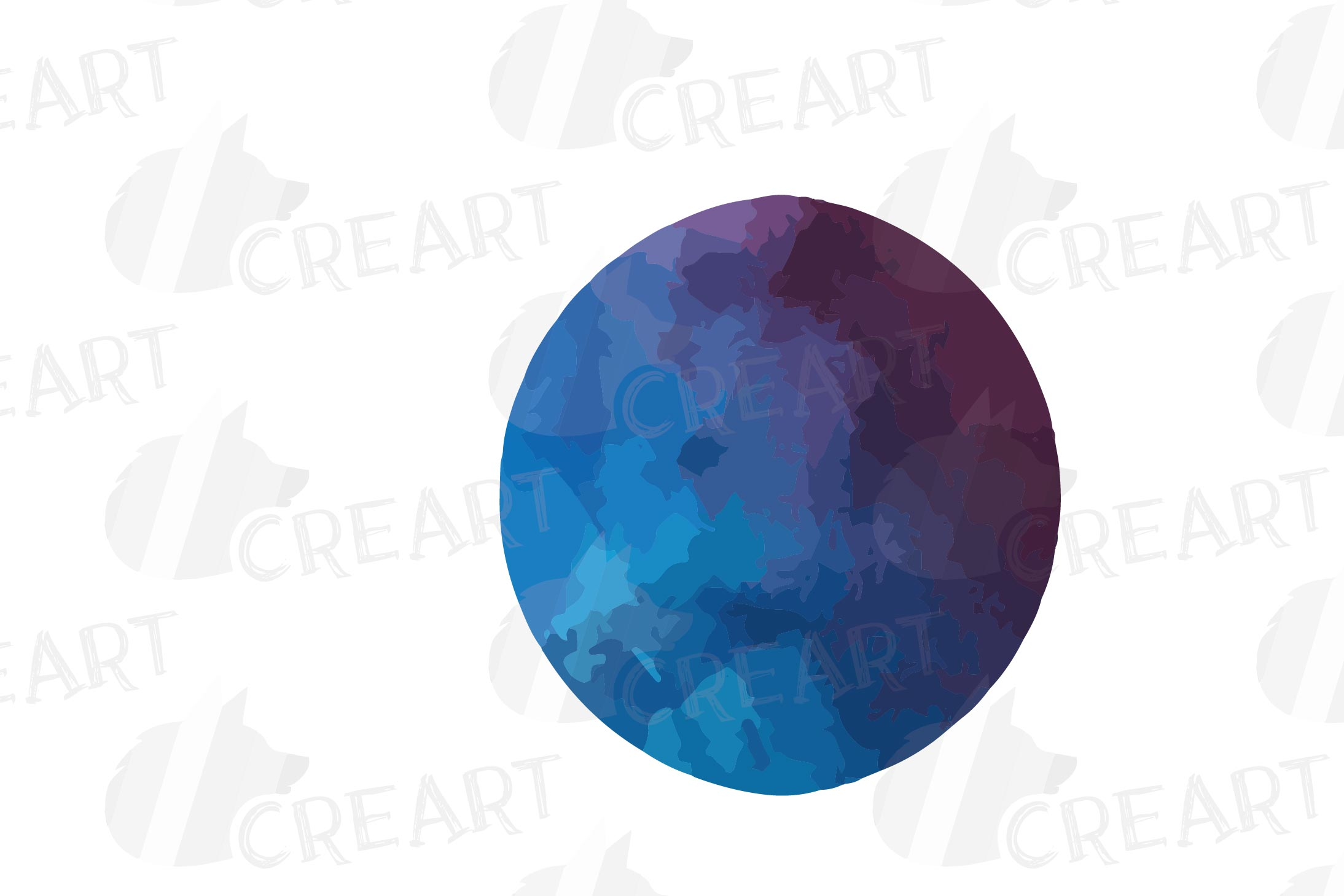 Watercolor space blue and grey Moon Phases clip art pack example image 7