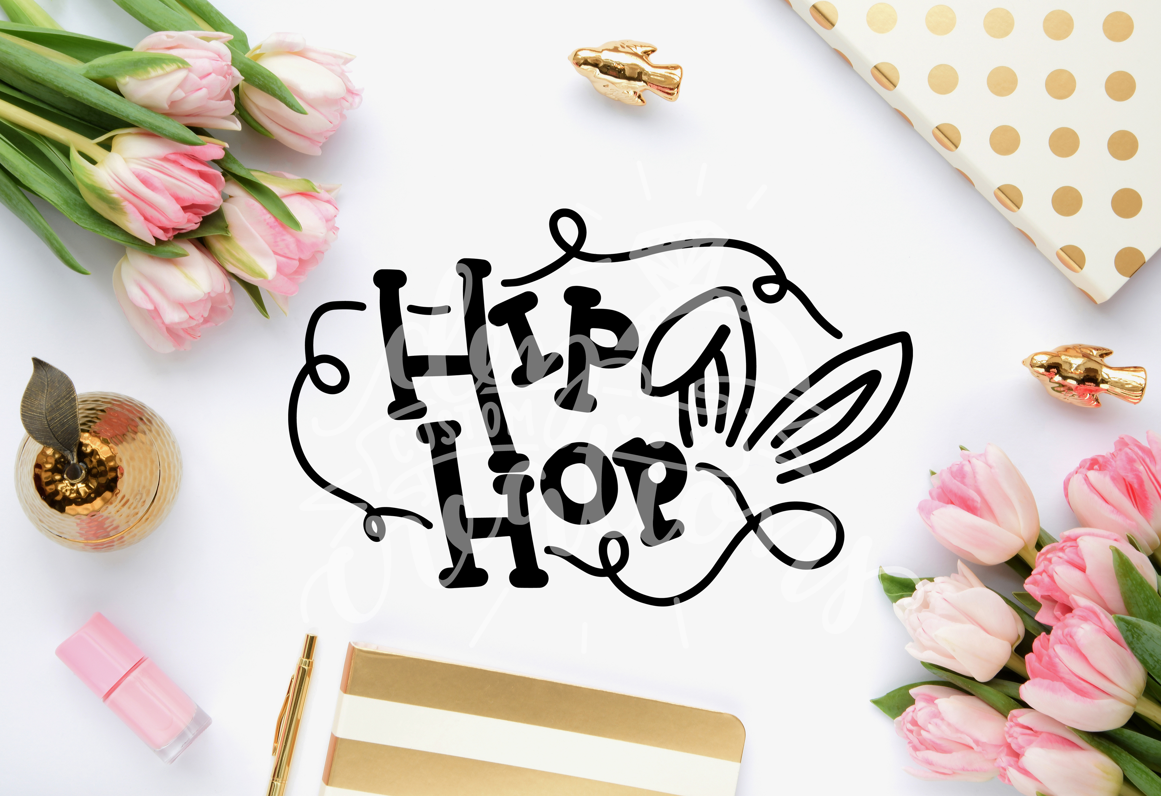 Hip Hop bunny hand lettered file - (SVG DXF PNG) example image 2