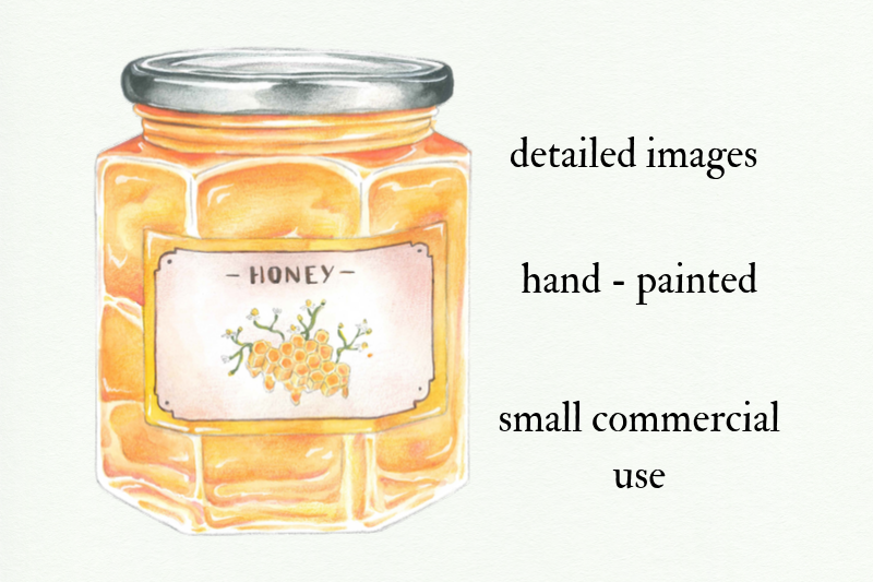 Watercolor Honey Clipart, Handpainted Bee Illustrations example image 2
