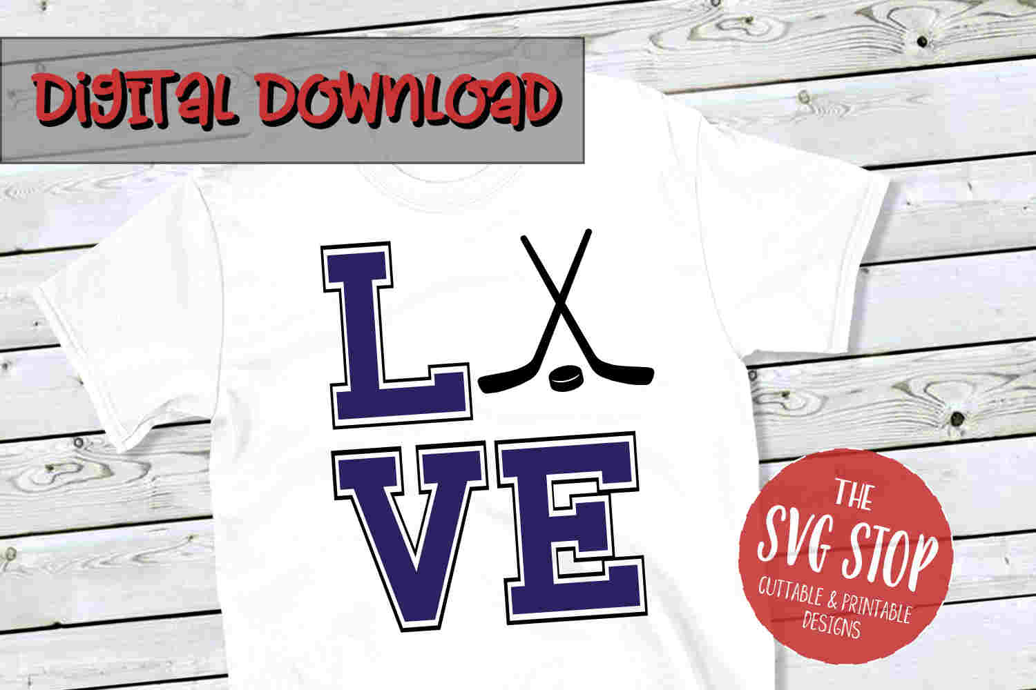 Love Hockey -SVG, PNG, DXF example image 1