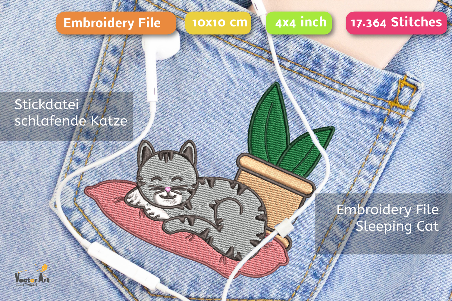 Sleeping Cat with Succulent - Embroidery File - 4x4 inch example image 1