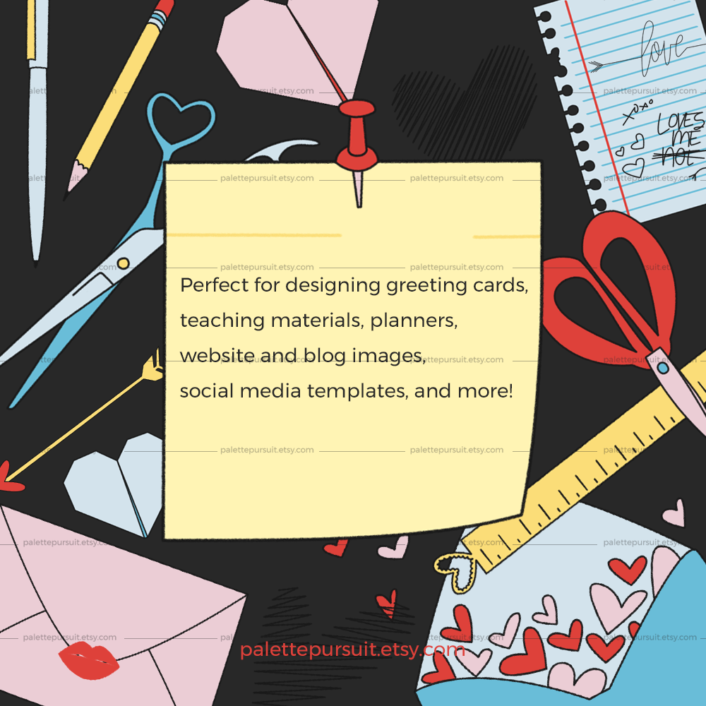 Office and School Supplies Clip Art in Love Theme example image 3