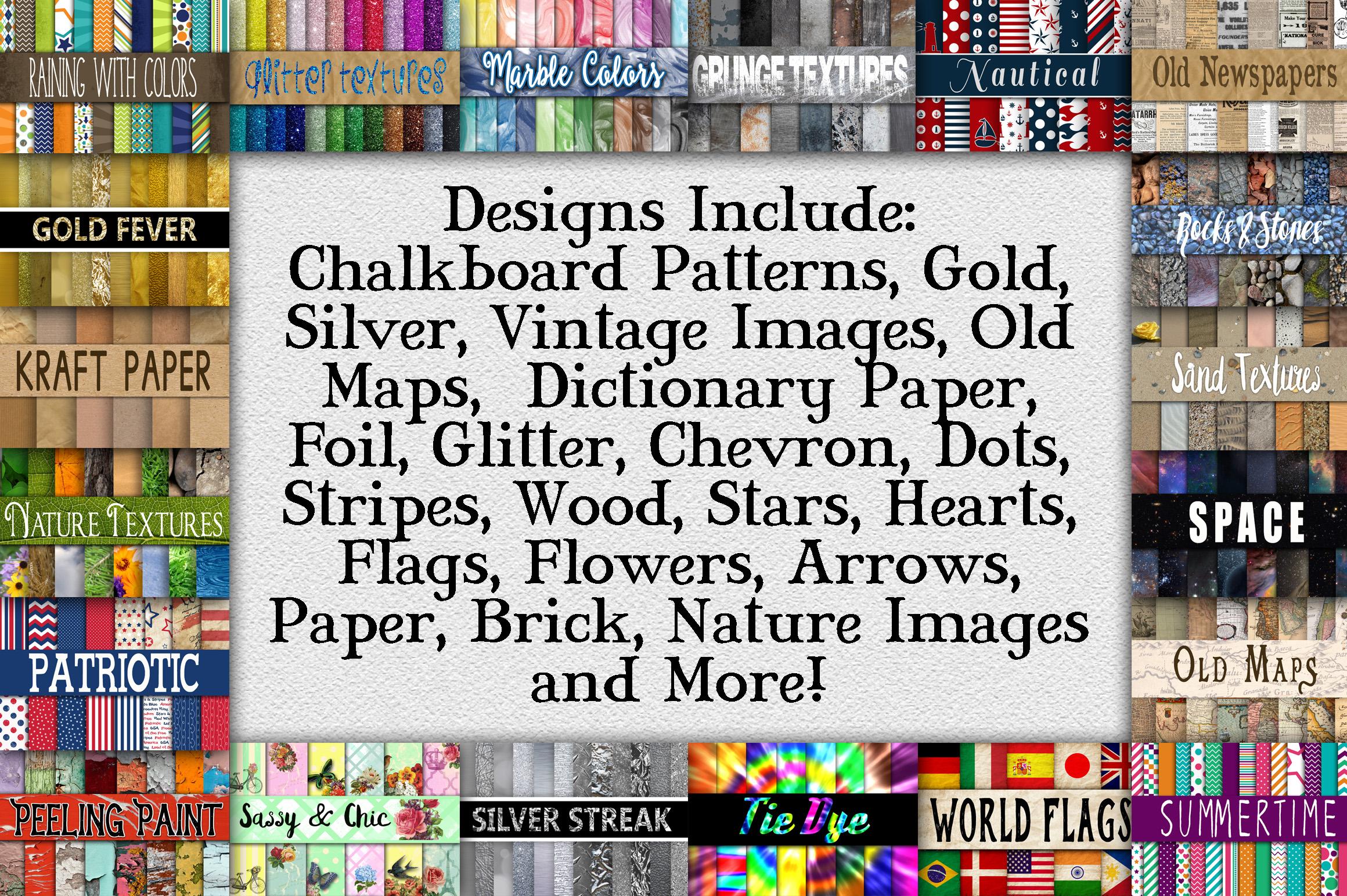 Digital Textures Scrapbook Paper Bundle - Over 250 Sets! example image 2