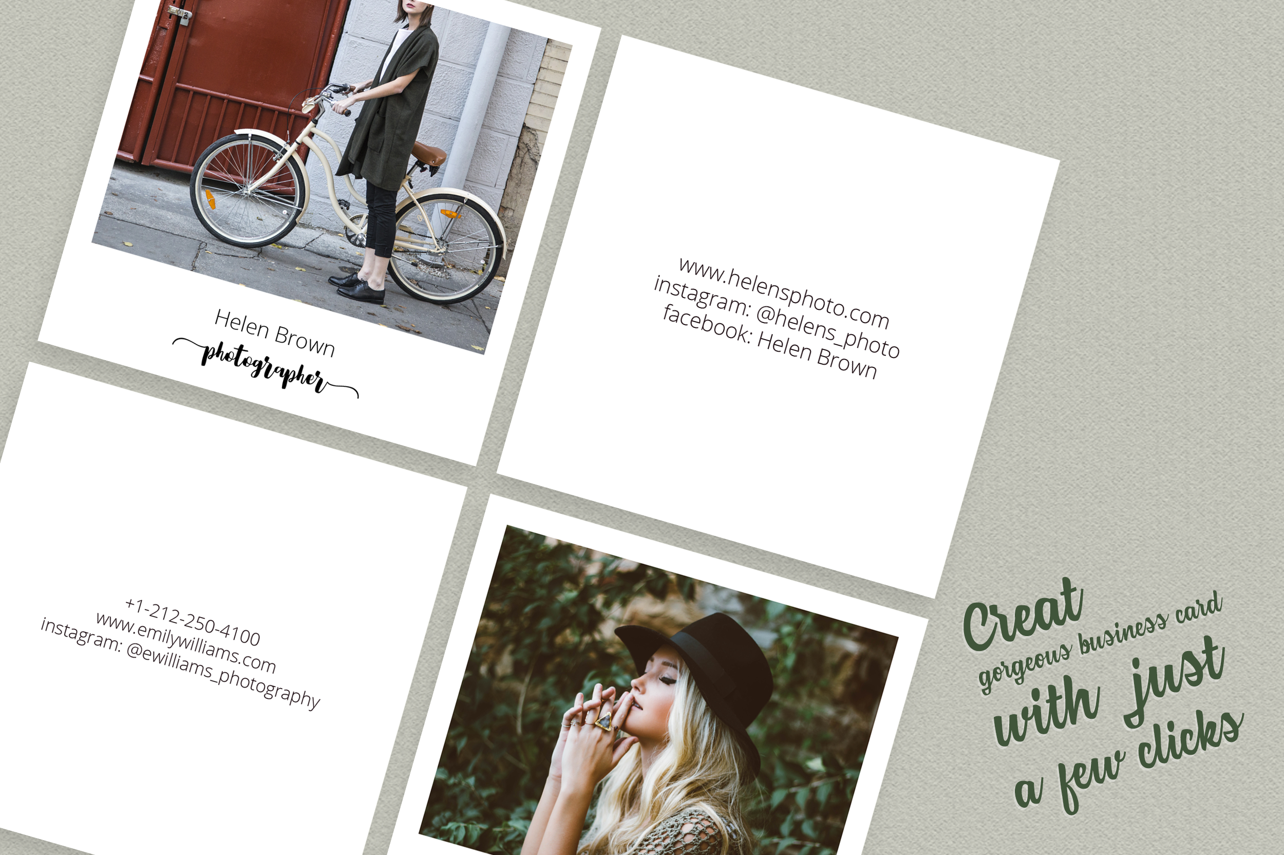 Square Polaroid Photographer Business Card example image 3