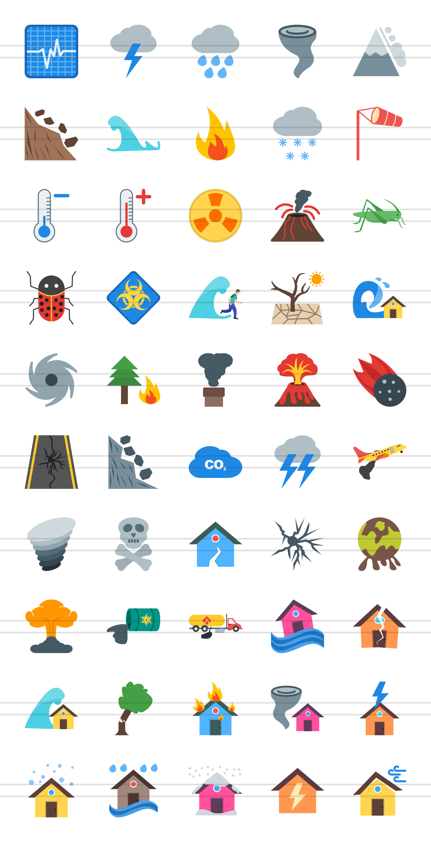 50 Disasters Flat Multicolor Icons example image 2