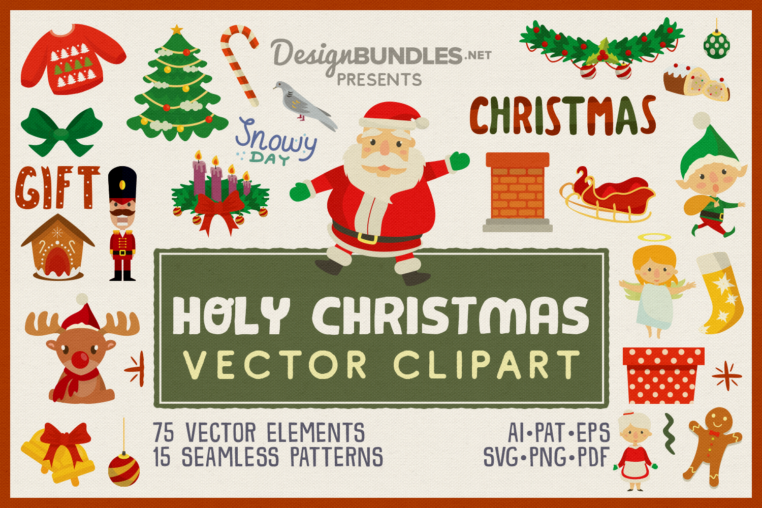 Holy Christmas Vector Clipart and Seamless Pattern example image 1