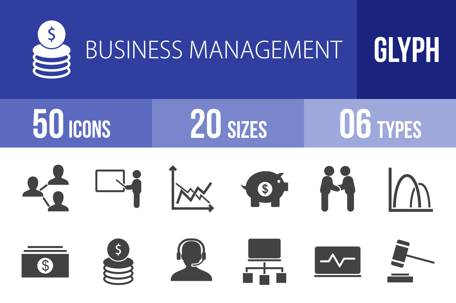 50 Business Management Glyph Icons example image 1
