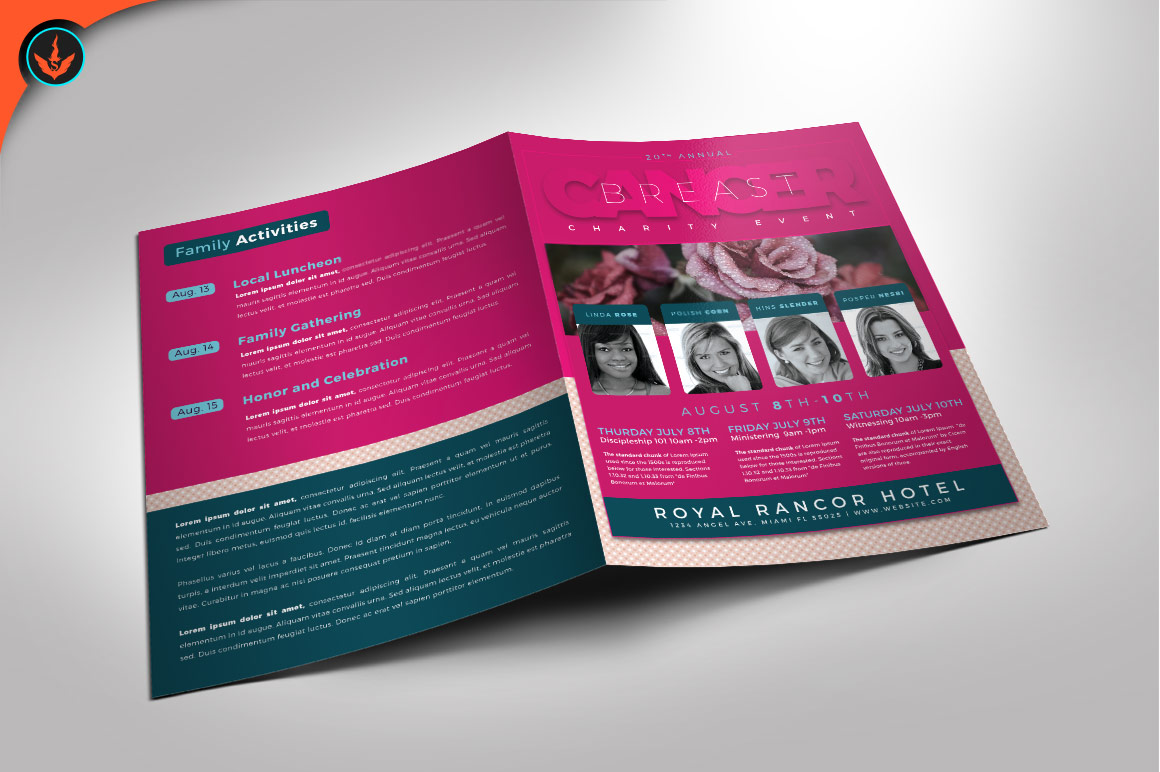 breast cancer charity event program photoshop template