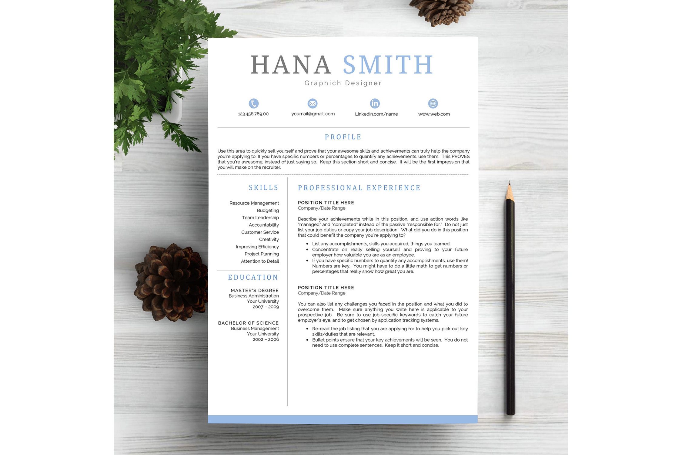 chic resume template cv