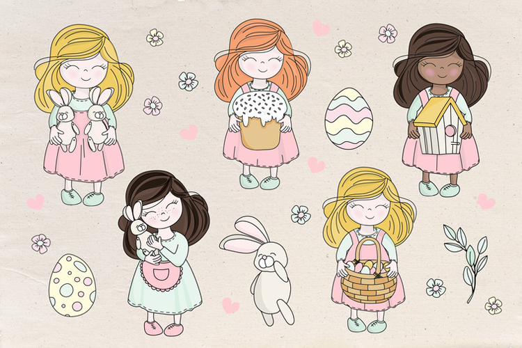 HAPPY EASTER Seamless Pattern Vector Illustration Set example image 7