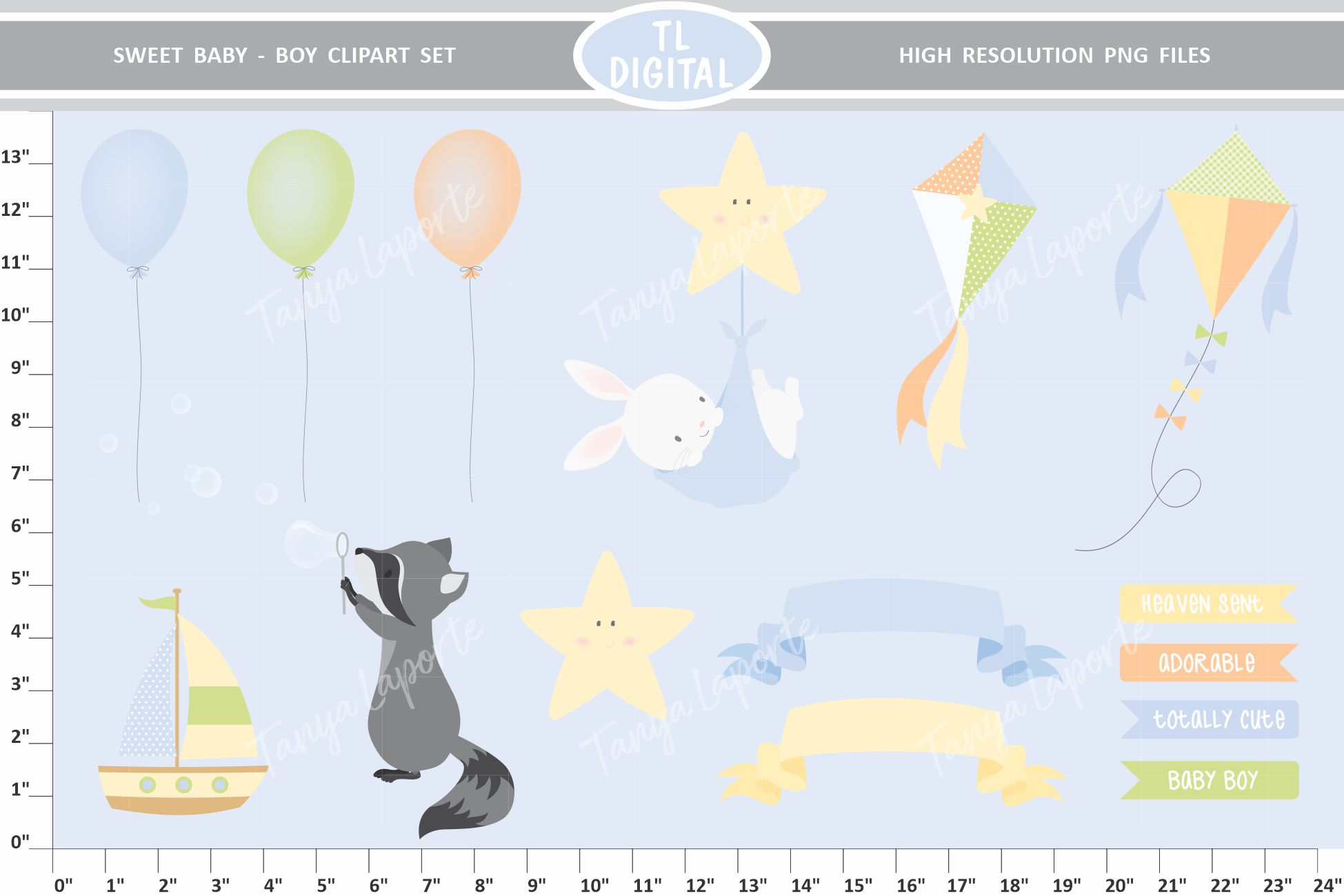 Sweet Baby Boy Clipart Set - 25 Baby themed Graphics example image 3