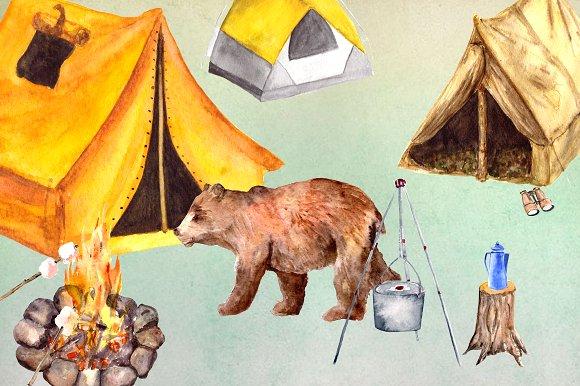 Watercolor Camping Clip Art Set example image 2