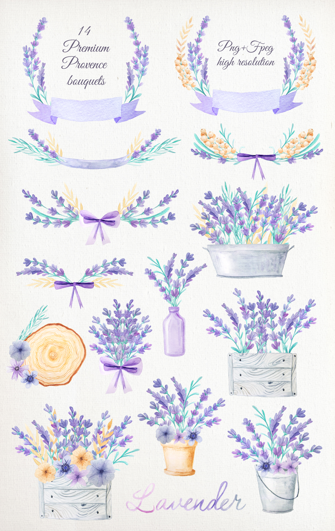 Watercolor Lavender Design Pack example image 5