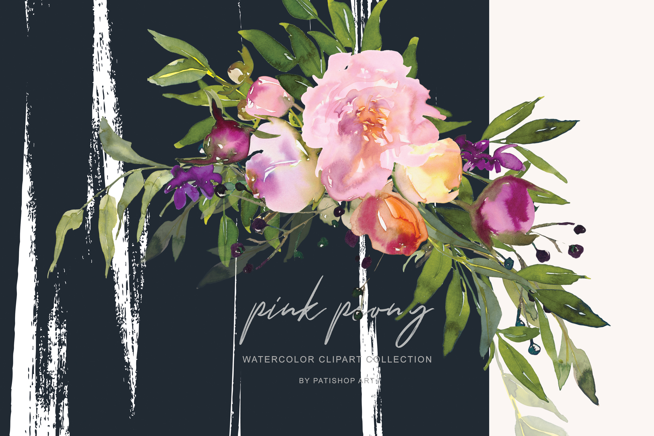 Watercolor Pink Peony Collection example image 3