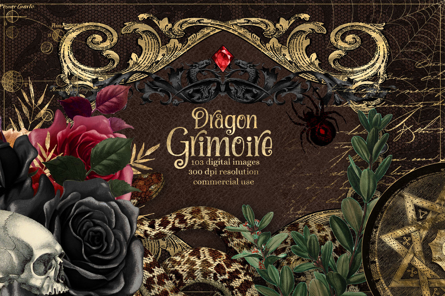 Dragon Grimoire Digital Scrapbooking Kit example image 1