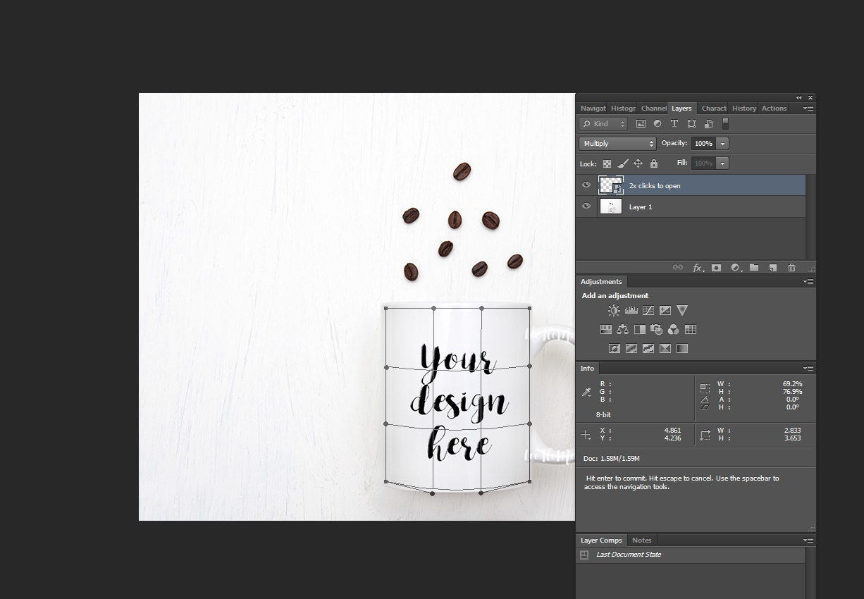 White Coffee Mug Mockup and coffee beans flat lay PSD smart example image 3