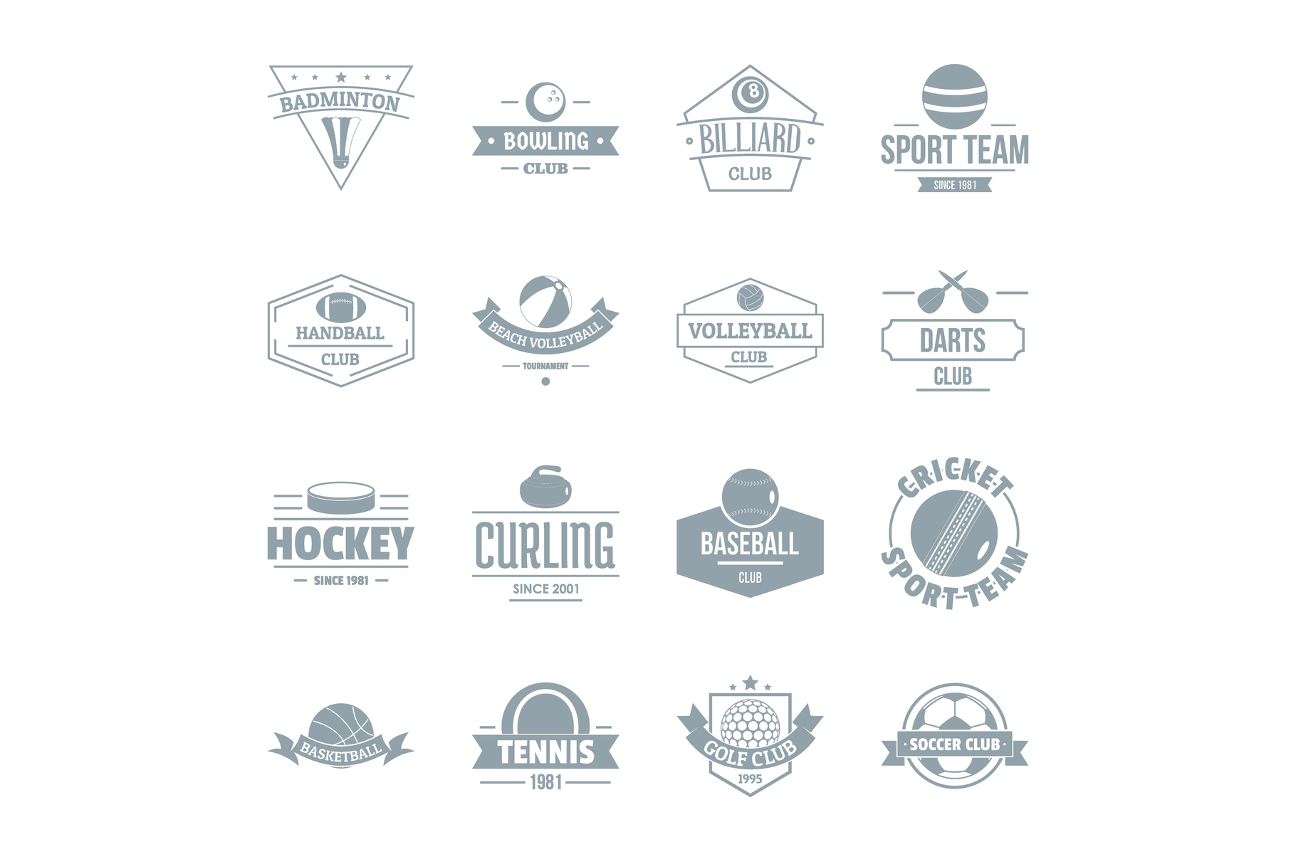 Sport balls logo icons set, simple style example image 1