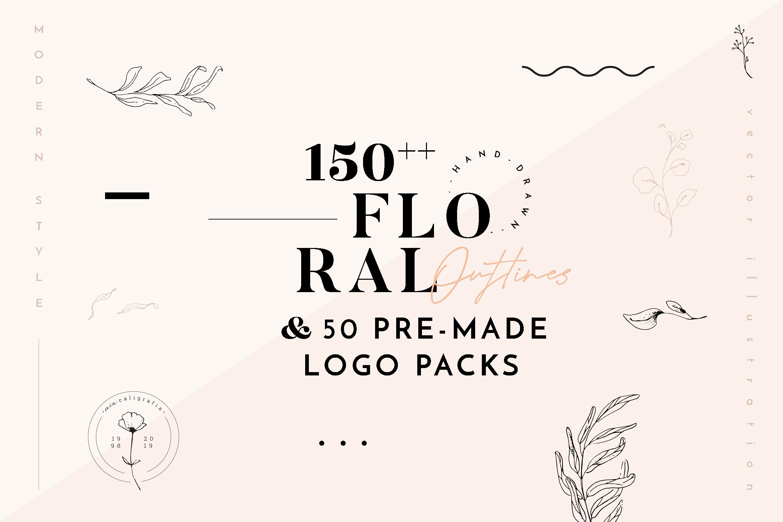 Floral Outline Illustration & Logo Pack example image 1