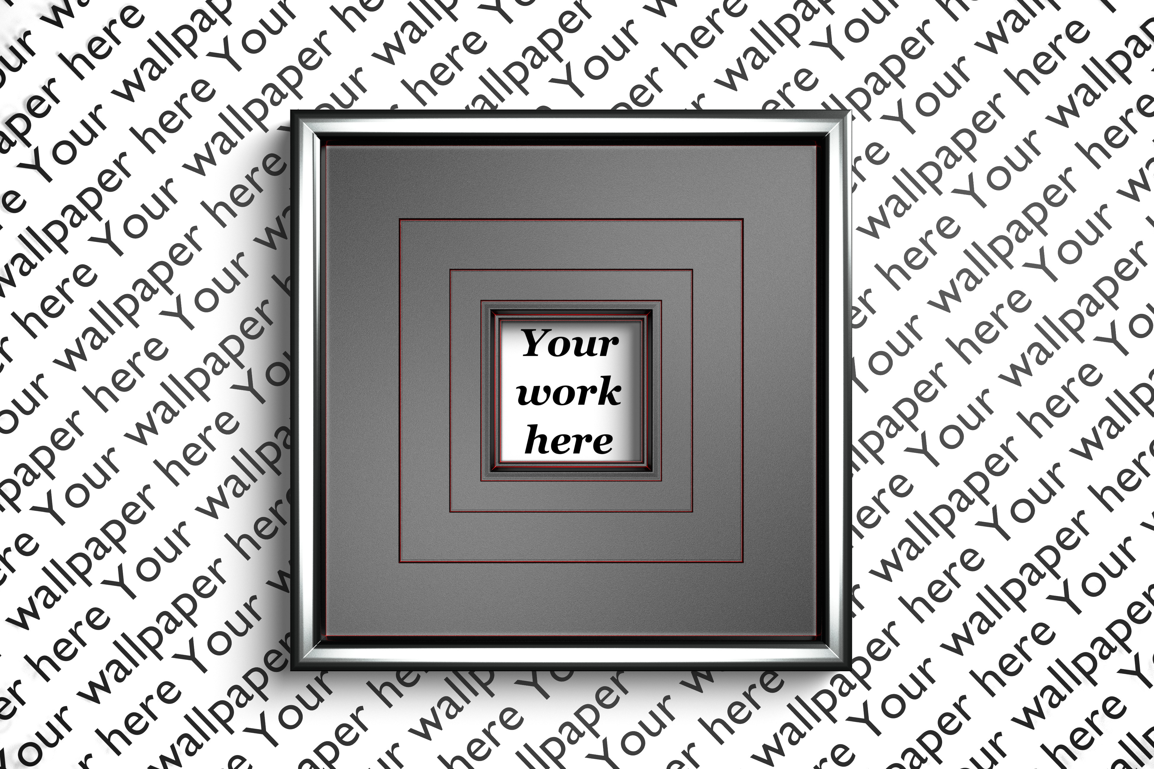 Silver and red mockup square frame with transparent backdrop example image 1