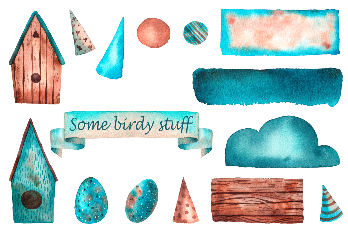 Tiny Birds - Watercolor Clip Art Set example image 5