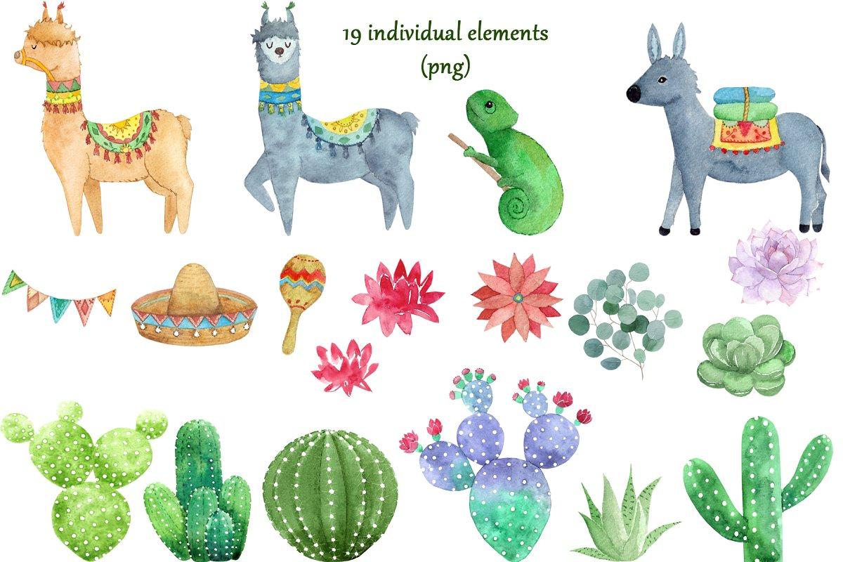 Cute Alpaca Watercolor Set example image 3