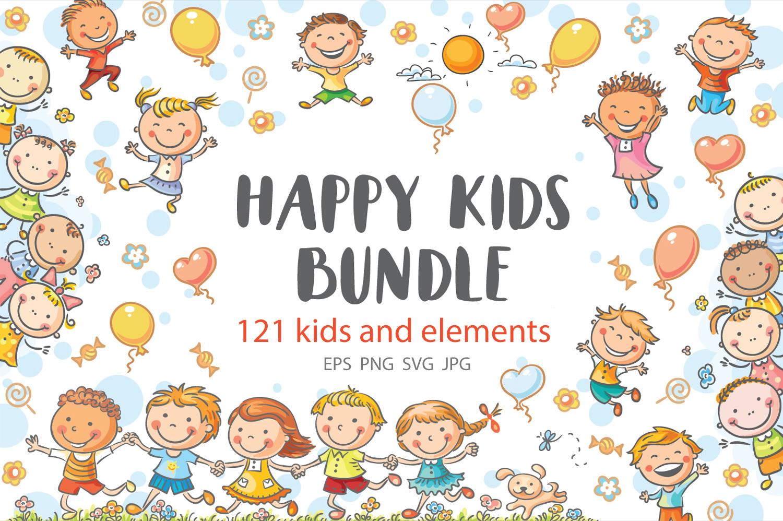 Happy Cartoon Kids Bundle, children doodle, kids doodle example image 1