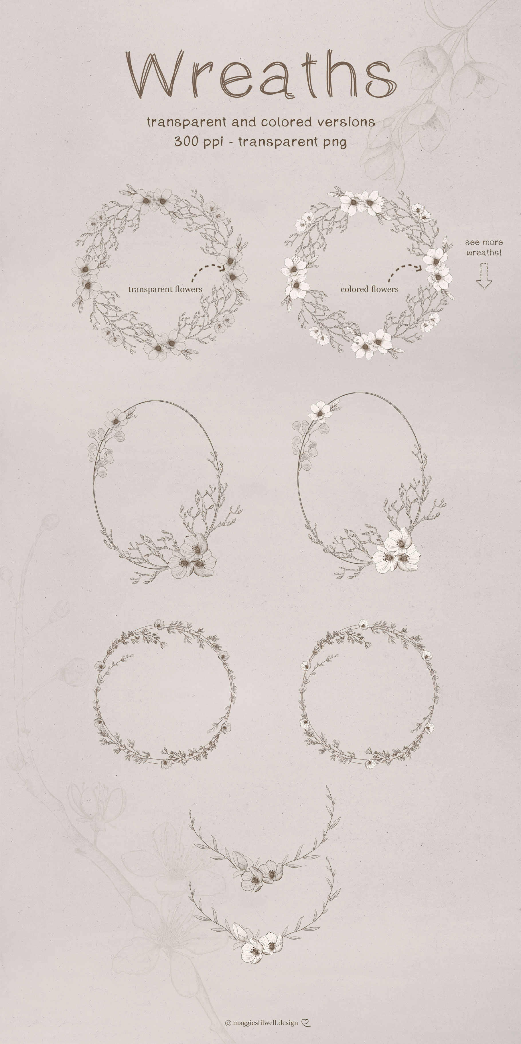 Sketchy Floral Wreaths & Borders example image 2