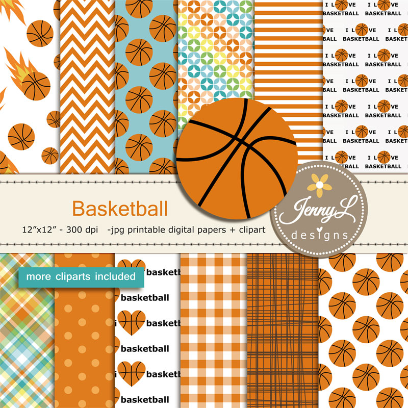 Basketball Digital Papers And Clipart Set Sport