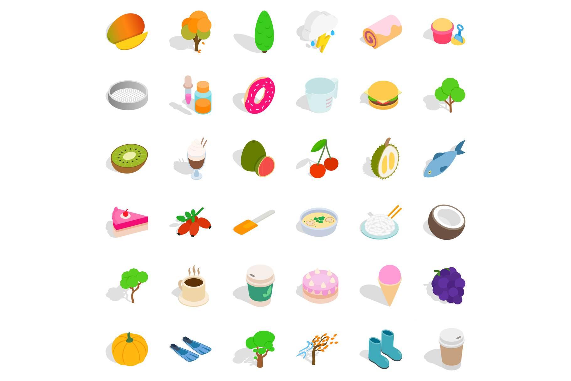 Vegan food icons set, isometric style example image 1