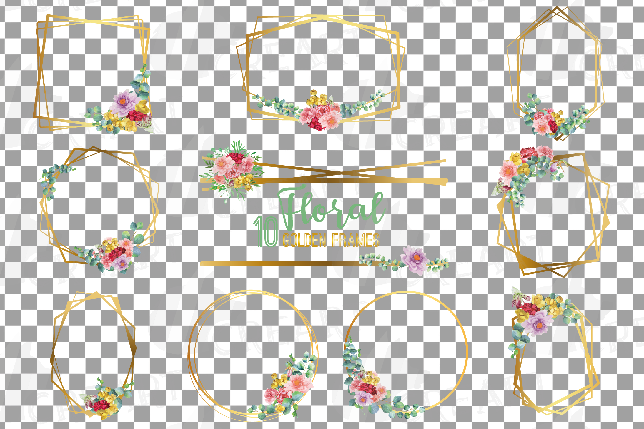 Watercolor floral golden frames and borders clip art pack example image 2