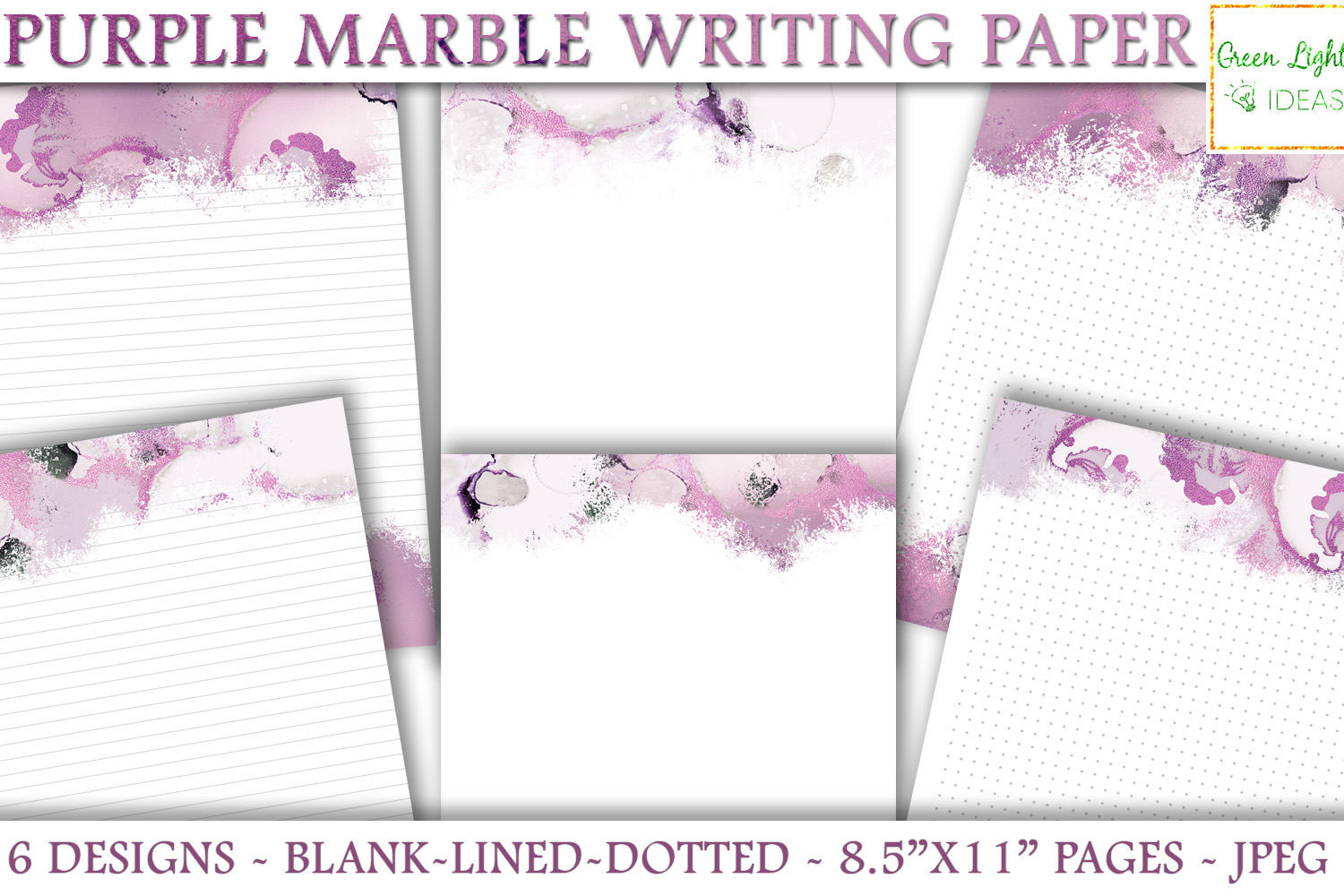 Purple Marble Writing Paper, Printable Stationery Note Paper example image 1
