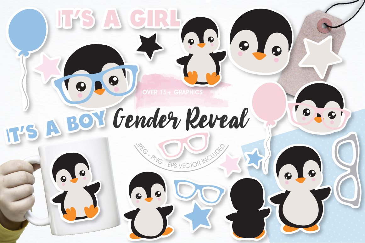 Gender Reveal Penguins graphics and illustrations example image 1