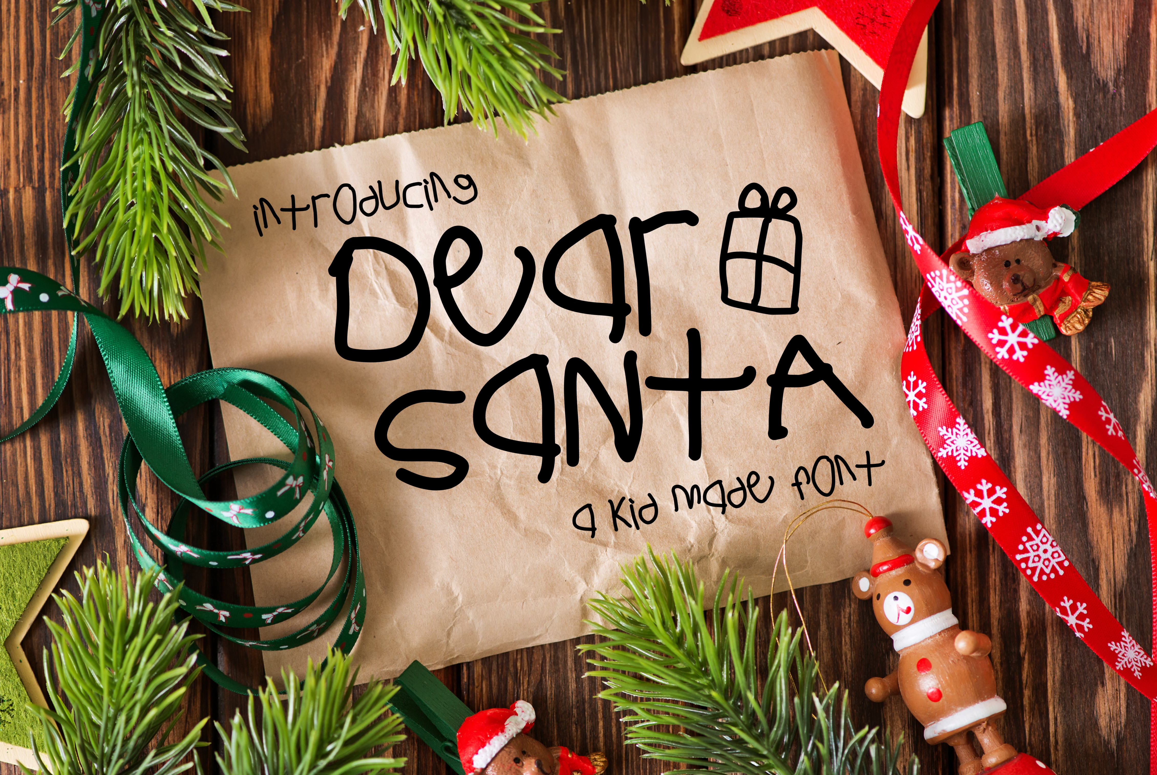 Dear Santa a Kid Made Font example image 1