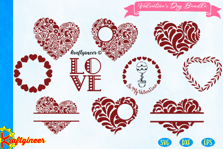 Valentines Day bundle SVG - Paisley heart svg CUT FILE, DXF, example image 1