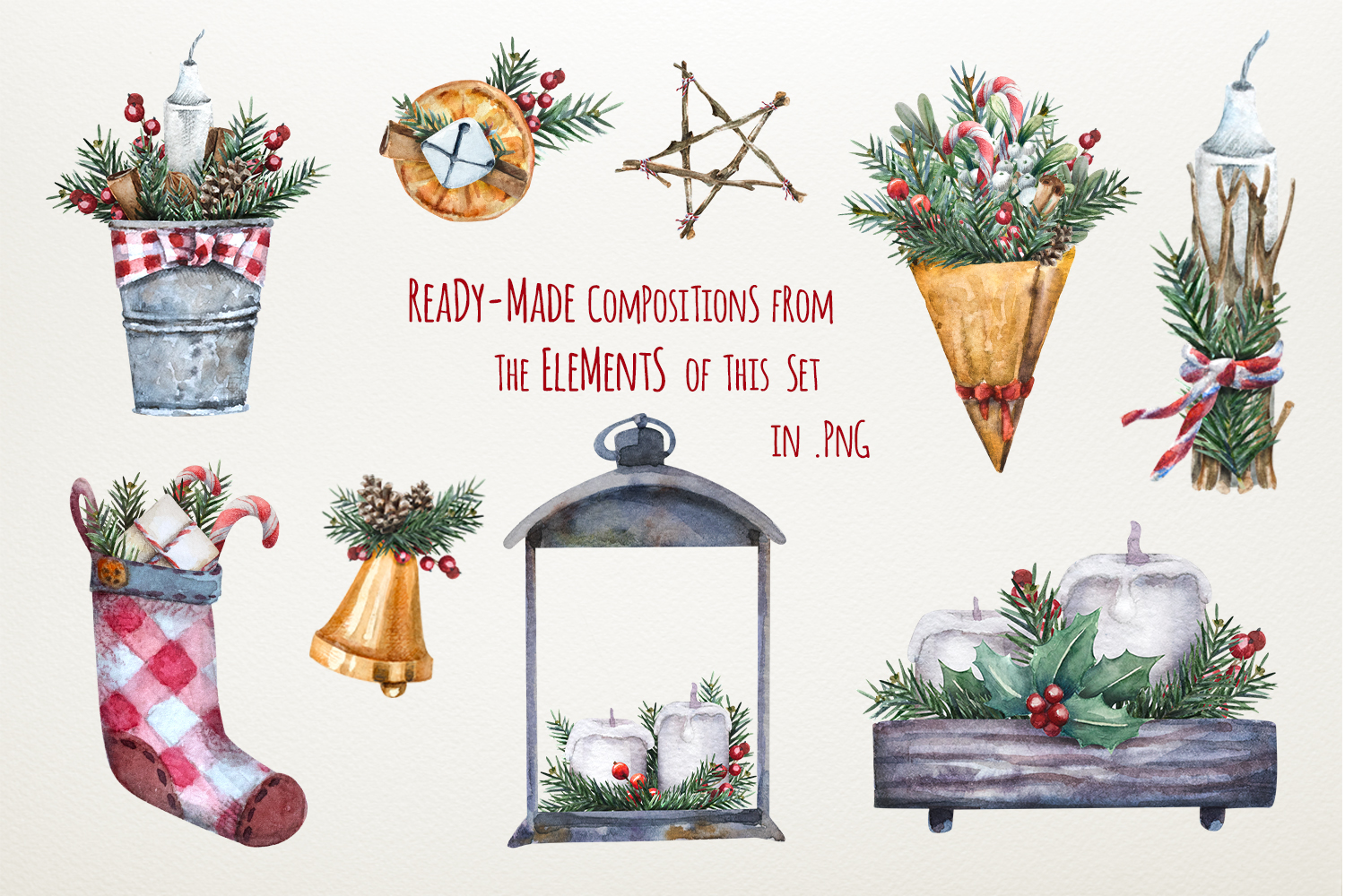 Magic Christmas set. Watercolor clipart collection example image 7