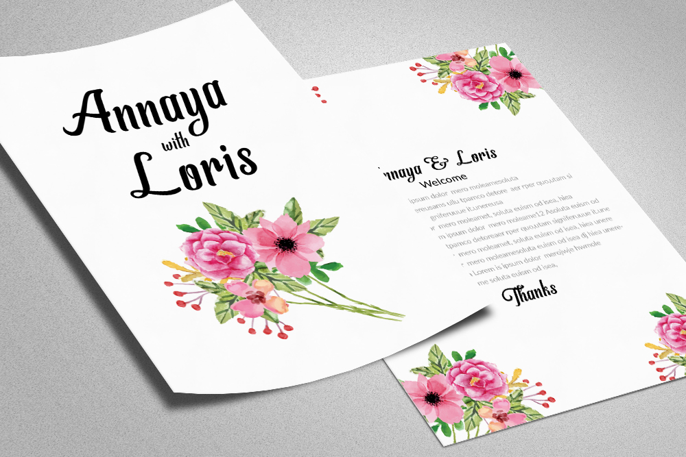 Double Sided Wedding Invitation Card example image 1