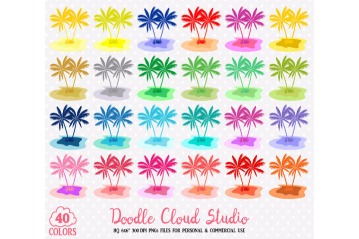 40 Colorful Tropical Island Clipart Travel Summer Holyday sea planner stickers PNG with Transparent Background for Personal & Commercial Use example image 1