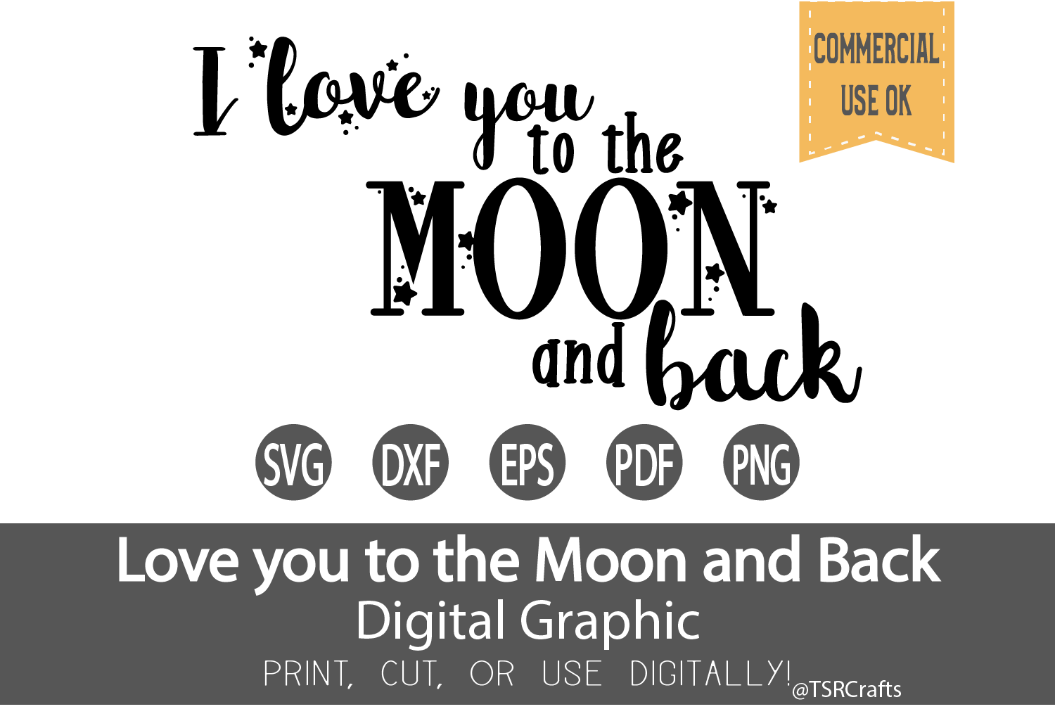 I love you to the moon and back SVG, DXF, Clipart & Cut File example image 1