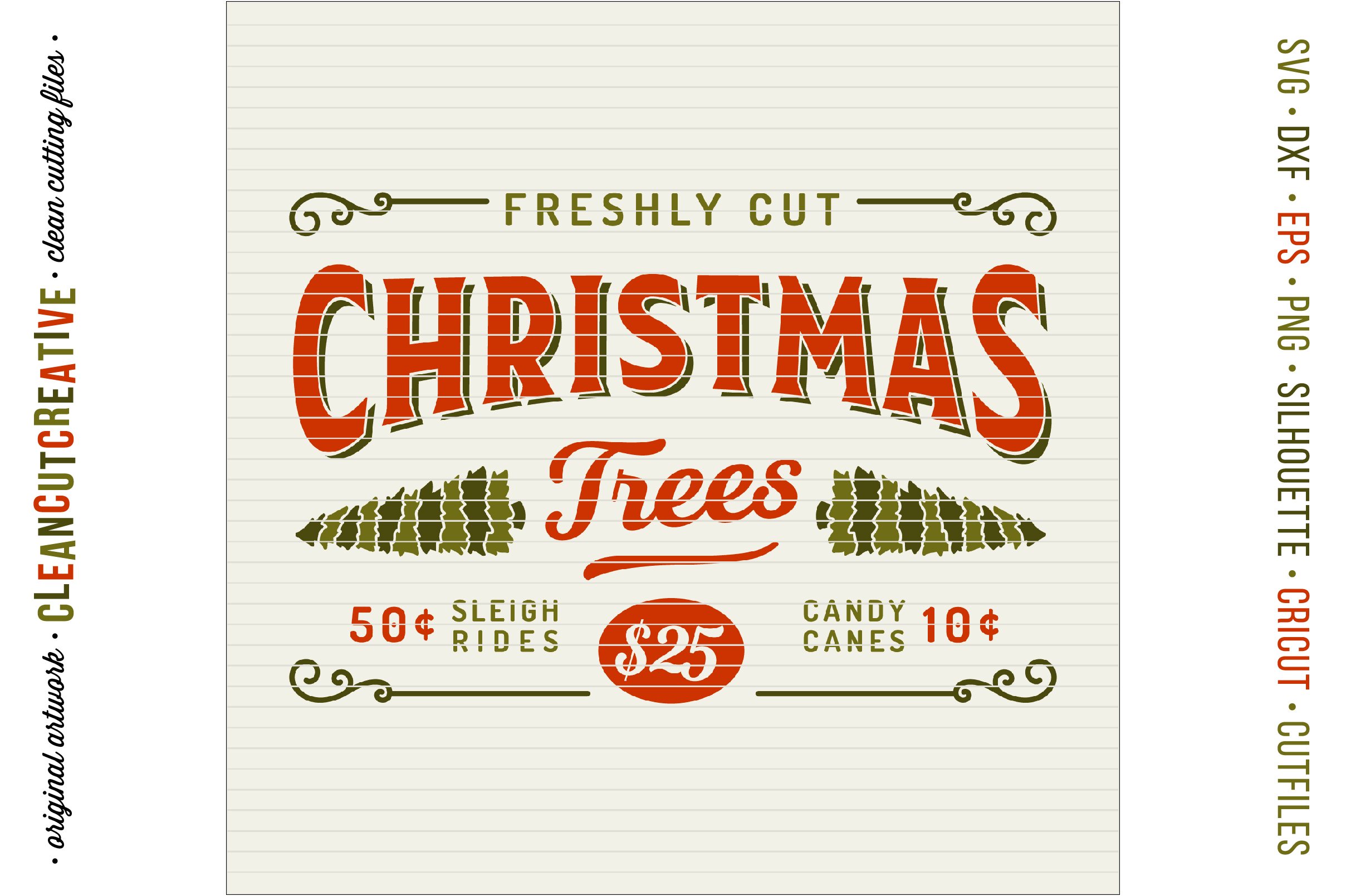Freshly Cut Christmas Trees! - Rustic Farm Wood Sign - SVG DXF EPS PNG - Cricut & Silhouette - clean cutting files example image 3