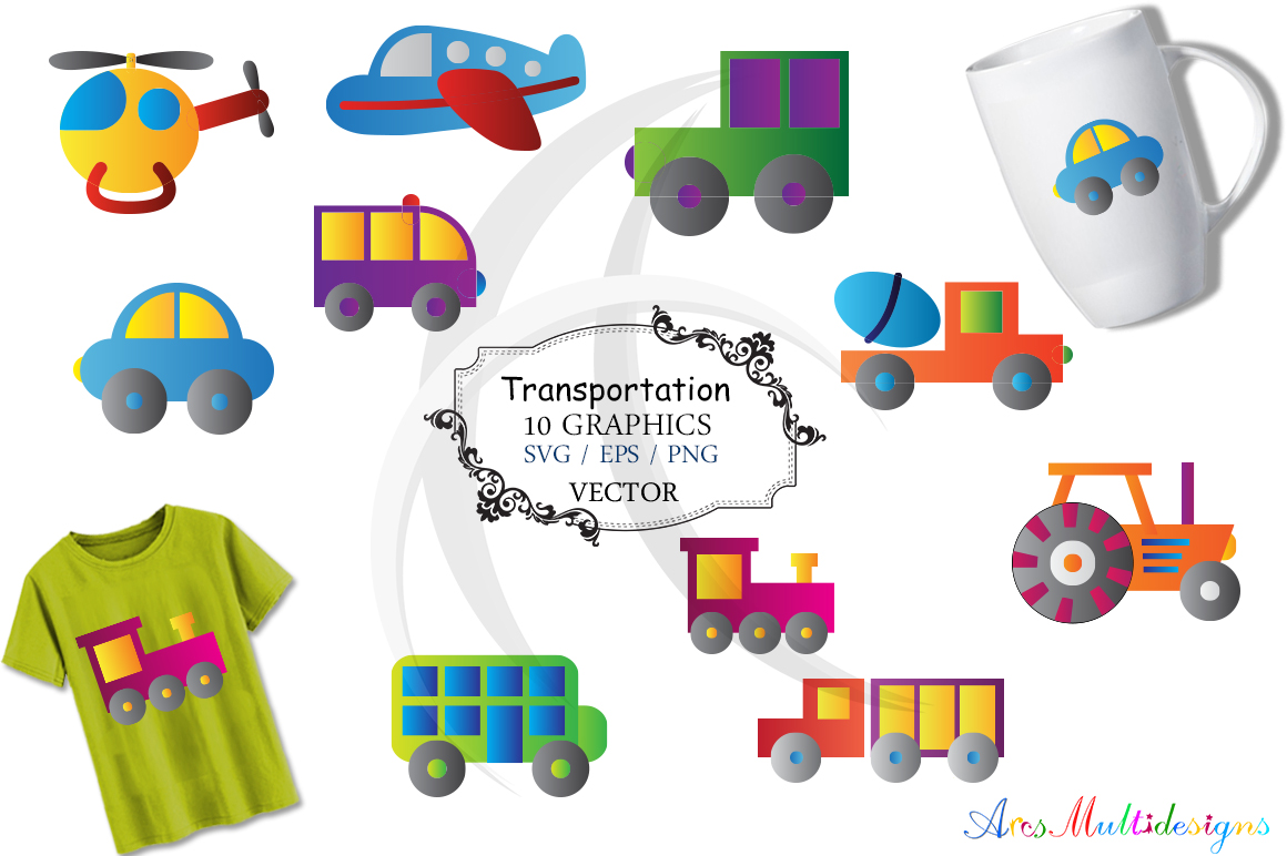 Transportation graphic and illustration / Transportation svg / transportation clip art SVG / vector/ hand drawn doodle / Eps / vehicle clipart example image 1