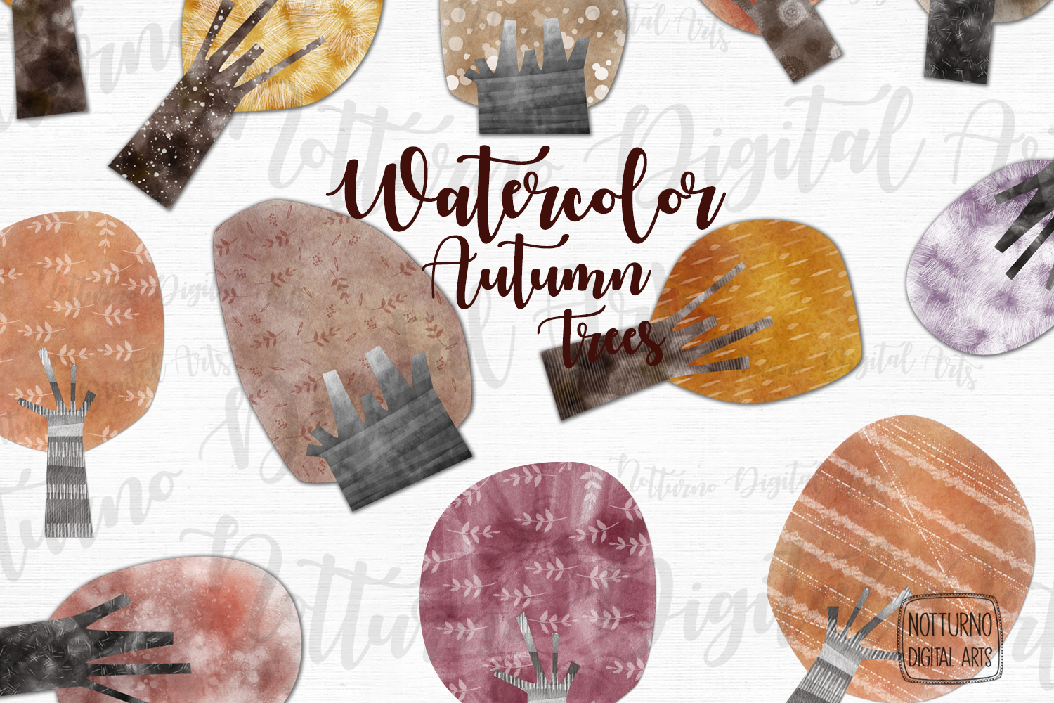 Watercolor Autumn Trees example image 2