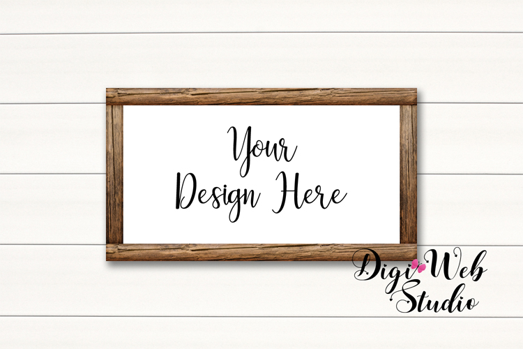 Wood Signs Mockup Bundle - 10 Wood Frames on White Shiplap example image 7