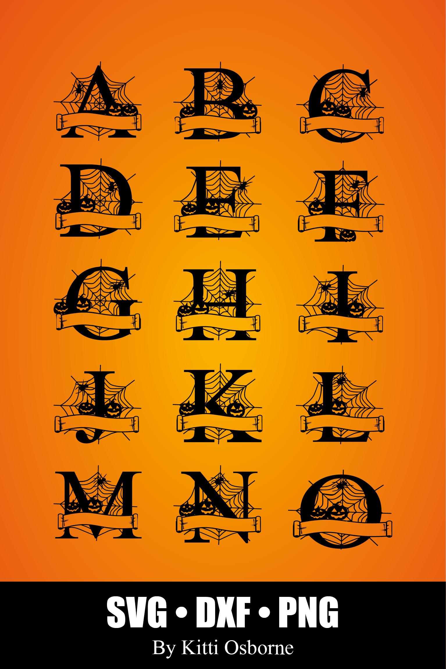 Halloween Split Monograms A-Z example image 7