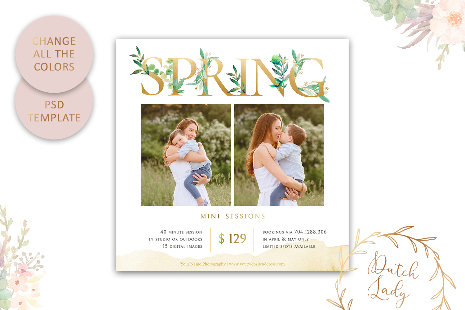 PSD Photo Spring Mini Session Card Template - Design #40 example image 4