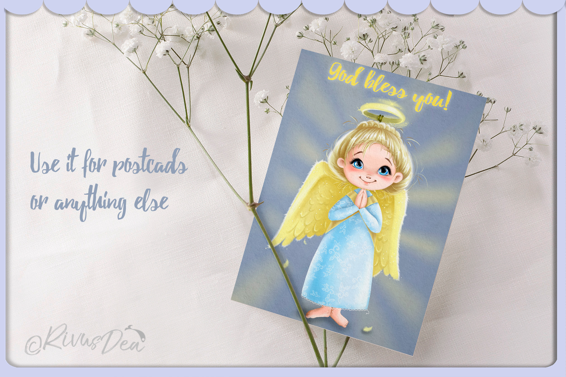 Cute Angel girl with moon and stars Christmas clipart kit example image 3