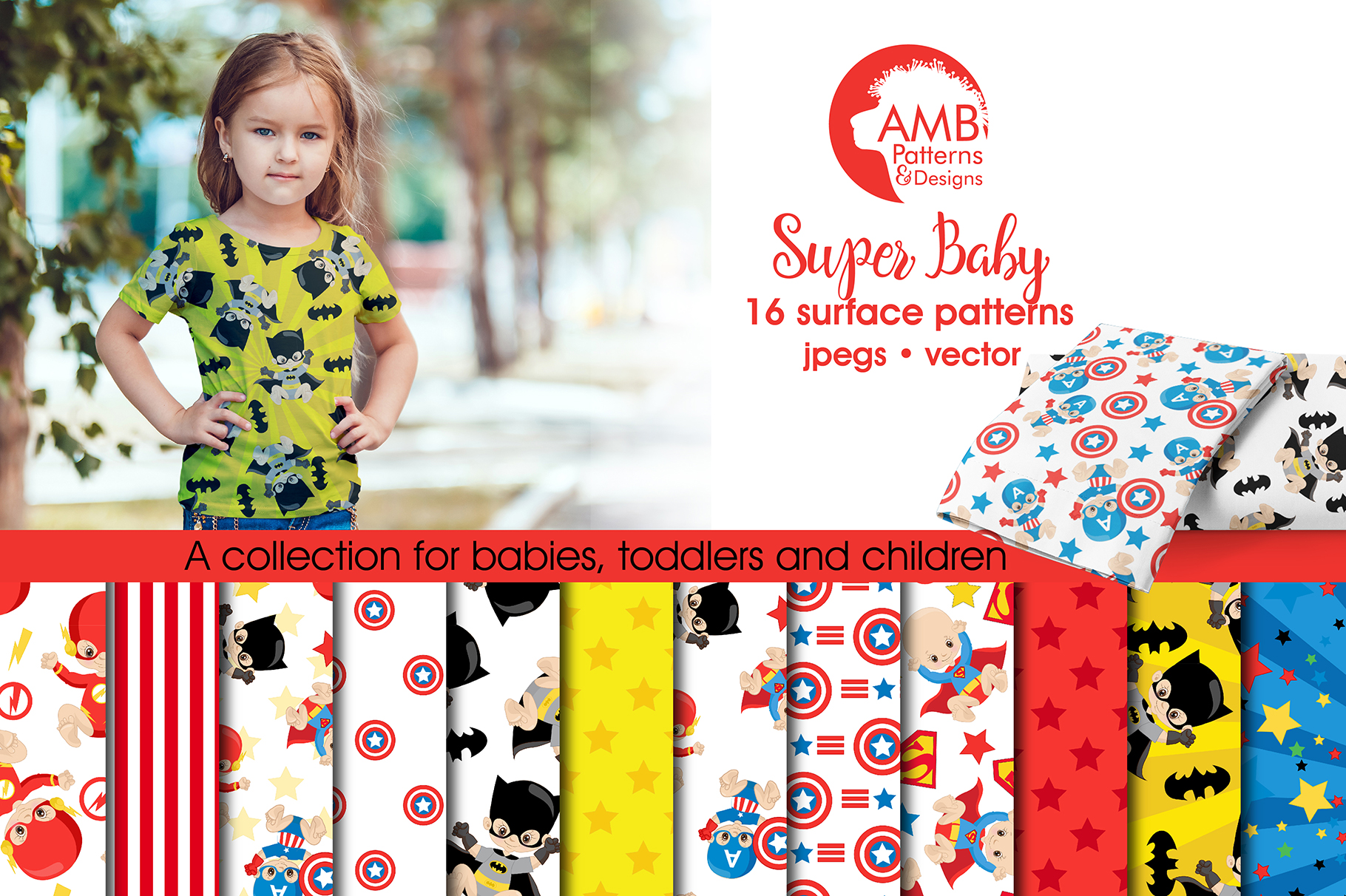 Super Baby Patterns, Superhero Papers, AMB-1338 example image 1
