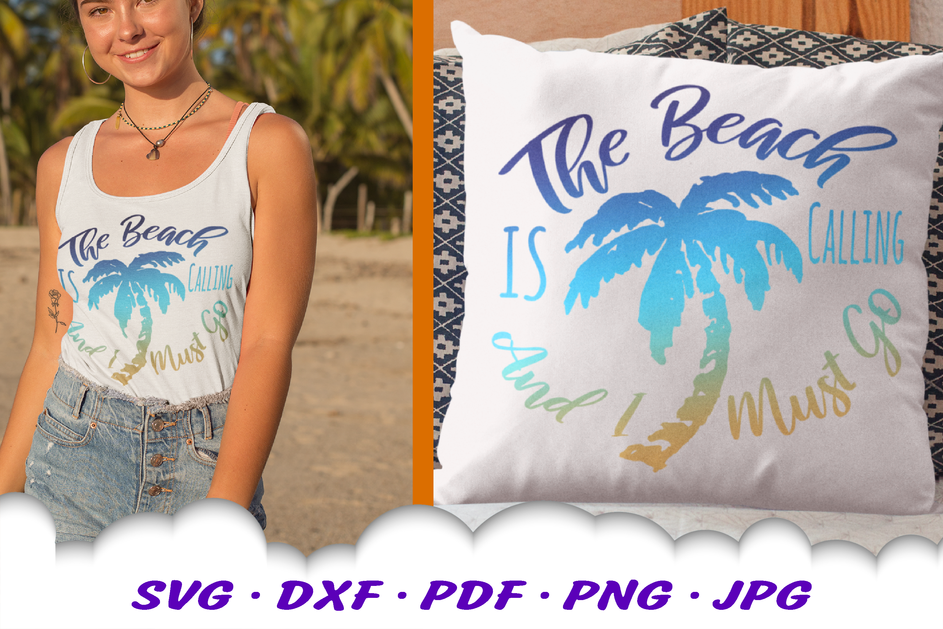 The Beach Is Calling Palm Tree SVG DXF Cut Files example image 1