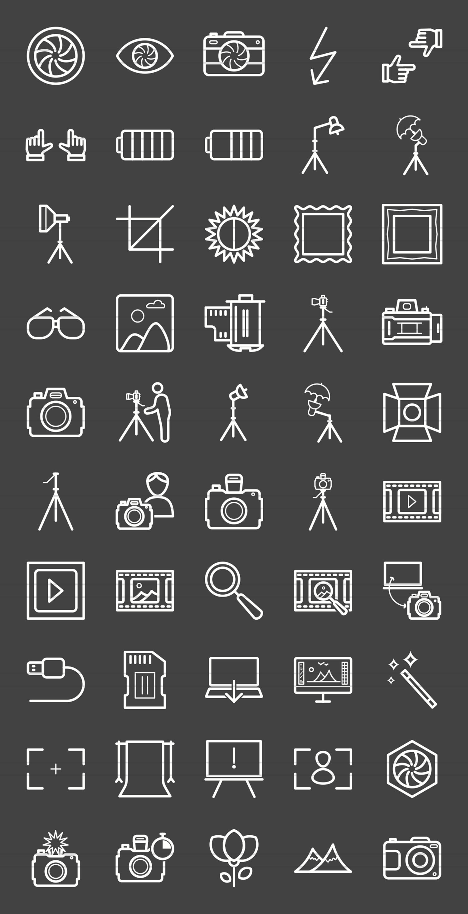 50 Photography Line Inverted Icons example image 2